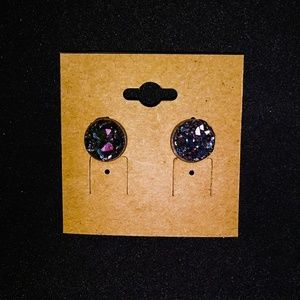 Handmade 10mm Natural Druzy Stone Studs
